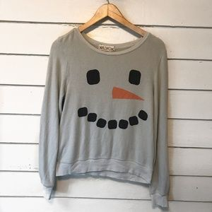 Wildfox Frosty Face Snowman Pullover Sweatshirt